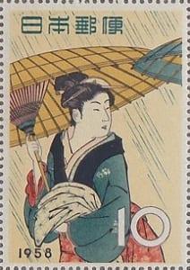 切手趣味週間「雨中湯帰り」